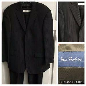 Paul Fredrick Black 100% Wool Suit Size 42S/32W